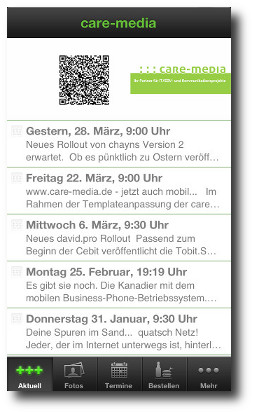 care-media App mit Supportformular